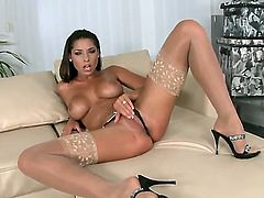 Luxurious brunette chick with great juggs and ass is squirting from having nice masturbation! You would wish your cock to be on place of the lucky dildo that enters her twat.
