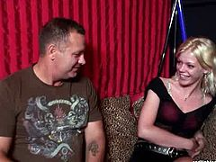 Two dudes from England go to the Red-Light district. Horny men talk with a well-know pale and slim slut. This blondie with nice couple of long legs and sweet tits is ready to be paid well after the interview to tease stiff dicks right away.