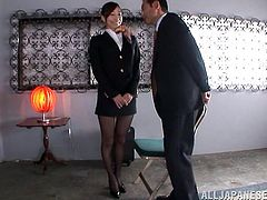 This gorgeous Japanese babe is a stewardess and she has only 30 minutes to have sex before her next flight. That is pretty enough to get her hairy twat satisfied!