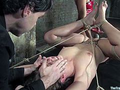 Nasty dark-haired girl Devaun is playing dirty games with Isis Love and some dude in a basement. Devaun gets bound and tormented and then enjoys some brutal banging.