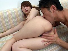 Insatiable daddy calls up a sextractive Japanese prostitute. He oral strokes her small perky tits before switching to bearded vagina, which he eats and pokes with fingers