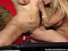 This dark-haired lesbian hottie is well-aware of the powerful orgasms the Sybian machine produces. She rides it hard and then gets her pussy stimulated with vibrator by her busty girlfriend.