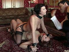 Two famous sex slaves are being humiliated once again! Bella Rossi and Cherry Tron love being bondaged and collared tight on their necks!