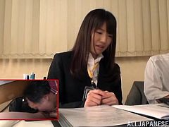 Two Japanese office girls are playing dirty games with some guy indoors. The man comes up to one of the hotties and makes her suck and deepthroat his prick.
