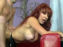 Skinny boyfriend Kris Slater fucking curvaceous and busty redhead milf Sexy Vanessa