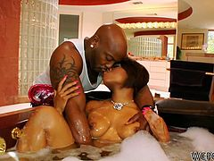 This is a real romantic evening. Zealous curvy black chick with heavy makeup takes a hot bath, lures her boyfriend to suck his tasty black dick for sperm. Then ardent bitch bends over, smacks her huge rounded ass and begs to polish her wet cunt from behind for orgasm.
