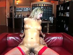 Daria Glower with gigantic breasts has some dirty fantasies to be fulfilled in cumshot action