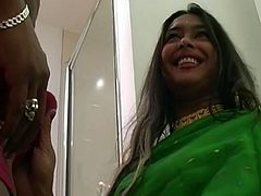 Jasmine Sharma is famous Indian porn slut having strong cock sucking skills. She wears traditional dress and heavy jewelry filming in Indian Sex Lounge video. Watch this hussy jade blowing juicy cock like a real pro.