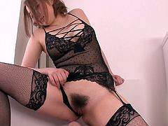 Fuckable Japanese milf with cuddly curvy frame in steamy black lingerie and stockings gives face sitting to aroused dude before she inclines to mouth fuck his hard cock in steamy sex clip by Jav HD.