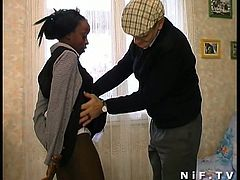 This sexy ebony maid keeps everyone happy with her hot body and blowjob skills,Watch how she serves her pervert boss by taking his white cock deep in her wet chocolate pussy.Enjoy!
