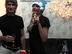 WTF Pass sex clip presents a really voracious amateur couple. After drinking champagne voracious slim blondie gets horny and begs to fuck her wet pussy from behind as tough as possible. I bet it's the best Xmas present ever.