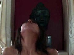 Black haired Alexa James with natural boobs and dark make up gets her shaved minge boned balls deep to orgasm by her tall muscled lover all over the living room.