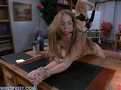 This student is getting on these two hot teachers nerves so they gets some kinky, hardcore revenge by dominating her.