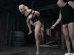 Amazing blonde chick gets tied up and toyed with a vibrator. Later on she gives deepthroat blowjob and gets her pussy destroyed.