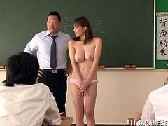 Hot Moe Tsukina is late for a class, so her teacher punishes her. He strips her clothes off and gets facialed by one of her classmates.