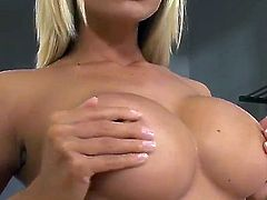 Gitta Szoke with big knockers and clean snatch is in heat in solo scene