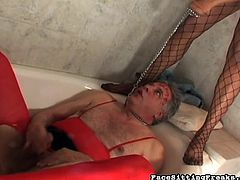 Horny ebony enjoys dominating older white guy during nasty femdom porn session