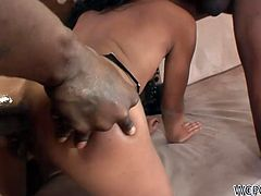 Kinky black chick is always ready for tough and hot threesome. Terrific dick rider with flossy ass loves anal fuck and never minds sucking a tasty black lollicock for sperm. Slim nympho has nothing against tough DP to reach multiple orgasm in a flash.