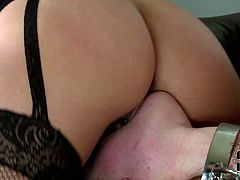 Zealous blondie in black sexy stuff and stockings wanna have a hot and tough threesome at home. Wondrous slim bitch stretches legs wide and submissive brunette in handcuffs licks her pussy passionately. At the same time horny stud drill black head's wet cunt rough right on the small couch.