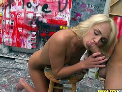 Hot Ivana Sugar strips her clothes off and poses naked for the painter. She gets so horny during this process that gives him a blowjob and rides big dick.