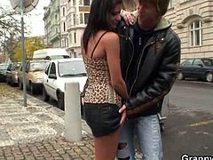 He didn't have a clue that she may be a prostitute, but decided to give her a chance. She gave him an amazing blowjob and took a ride on his young shaft!