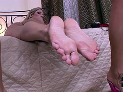 Those horny lesbians with blow your dirty mind. Nasty bitches licks their delicious feet until they get squeaky clean and then take a piss on each other's sweet soles...