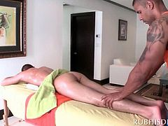 Gay stunner giving full body massage to horny dude