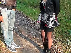 Delicious teen Lina visits the woods with two black dudes for a quick round of cock sucking