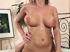 Furious white bitch with oversized milky tits rides hard cock in reverse cowgirl style before she rides a massive cock in reverse cowgirl style in sizzling hot sex video by Young Busty.
