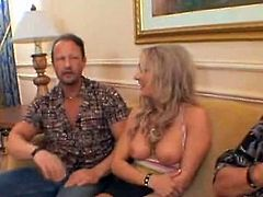 This is a softcore Milf tube mov wthis guyre sexy Mature classyk with Blonde hair showing her tits to couple men