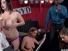 Three amateur babes Ashley Graham, Alex Chance and Danny D enjoy in showing their hot bodies and their delicious boobs and having a nasty amateur group sex for cam