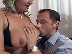 Classic mature blonde grandma enjoys hard cock,This cock hungry milf seduced young guy by showing her mouth watering boobs,Then sucks his cock to make it hard enough to enjoy hardcore sex.Don't miss it!