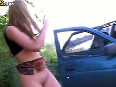 Medea is one of those teen girls who enjoys a big dick anywhere, thats why she loves to ride it in a car