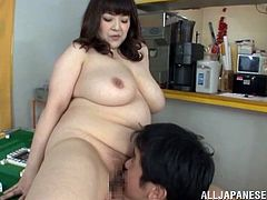 A few salacious Japanese girls play with some dude's prick. Then the man chooses one of the sluts and smashes her juicy twat from behind.