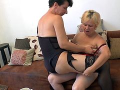 Mature, a bit saggy but still horny as hell! Meet our ladies Janice and Lucienna, two filthy lesbians that want to fuck for us in front of the camera. They taunt each other and then get naked to have some sweet love. Watch them kissing and rubbing those shaved hot cunts!