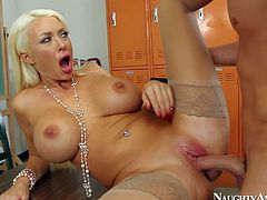 Summer Brielle enjoys in giving her classmate a hot blowjob and a titjob in the classroom after the school and gets her pussy pounded good on the table