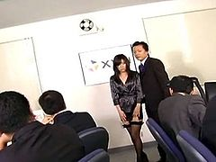 Asian Office honey made love by her Dissolute fellows