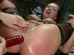 Watch as the flesh reddens in this intense bondage scene with lots of spanking and asshole stuffing featuring two hot bitches.