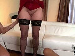 Jaw-dropping hotties with huge jugs having passionate lesbian sex on cam. Two of them scissor their legs together pushing against each other.