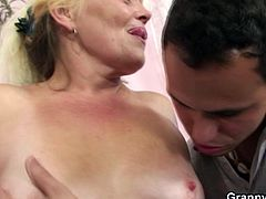 Flabby oldie spreads her legs for young dick! Cum inside and check out this nasty scene of old-young sex and enjoy!