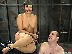 Horny Mika Tan ties the guy up and whips his ass painfully. After that he licks her pussy and gets his dick pinched.