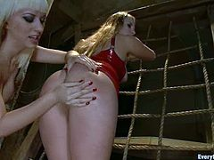 Horny chicks in latex fuck each other with strap on. They also lick their asses. After that the guy fucks both girls in their asses.