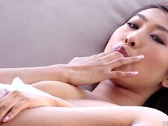 Sharon Lee is an exotic Asian seductress with flawless tits! She slips her fingers inside her pussy and starts pumping them in and out having one one orgasm after another.