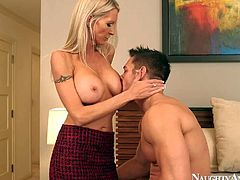 Hot,busty and arousing blonde housewife Emma Starr enjoys in seducing her closest neighbor,turned on Johnny Castle and has a hot and passionate sex in her home with him