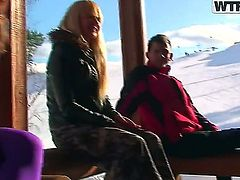 Gorgeous and horny ladies Alice Miller, Amelie Pure, Janet and Trinity have fun in the snow and then enjoy in a hot and arousing group sex session in the cottage after