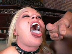 Blonde with big tits enjoys horny guys fucking her brains out in group action