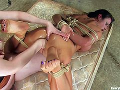 Bondage scene with a redhead domme than punishes a submissive bitch in intense ways that will make your jaw drop. Check it out!