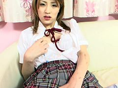 Divine Japanese student in flirty college uniform teases her beaver with fingers before she uses a pen to keep pleasing it. Later a horny dude joins her to welcome a steamy blowjob in pov sex video by Jav HD.
