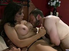 Jesse Carl and hot tranny Sofia Sanders kiss and pet each other and get horny. Then Sofia drives her cock into Jesse's butt and fucks it as hard as she can.
