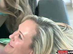 Sexy teen blondie and horny busty mom fuck on guy in FFM threesome. He fucks the young one first and then drills the milf pussy!